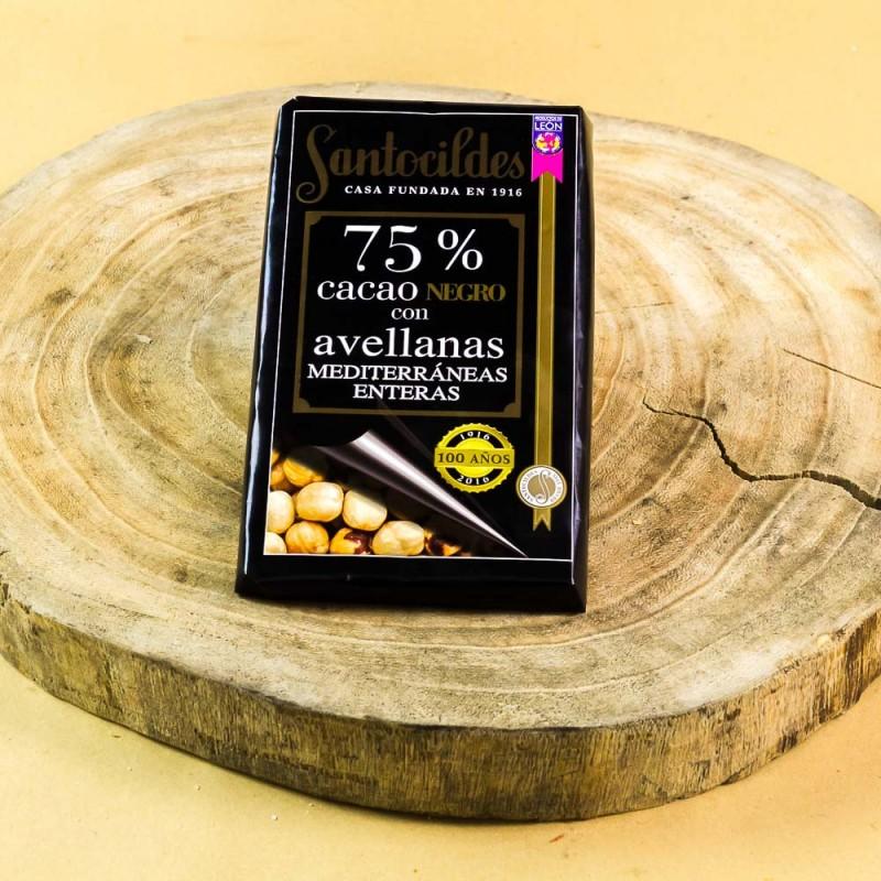Comprar el mejor Chocolate Santocildes Negro 75% con Avellanas Enteras